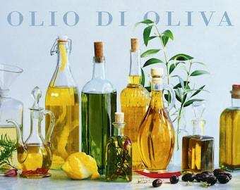 Olive Oil Bottles Kitchen Wall Art Large Vintage Rustic Art Poster Product Advertisement