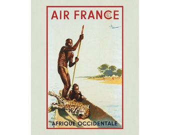 Air France Vintage Travel poster Africa Airline Wall Art Aged Finish