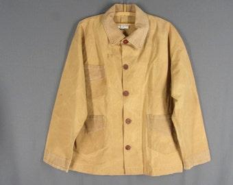 Vintage Chore Coat Judy Stern Work Jacket Brown Canvas Corduroy Trim