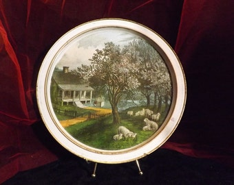 Tin Tray  - Currier and Ives Tin Tray ~ The American Homestead - Spring
