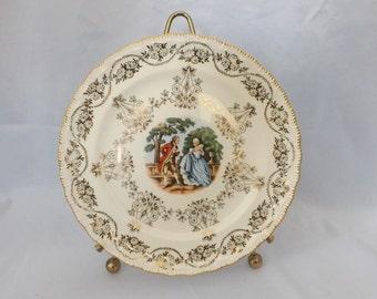 "Atlas Fine China Warranted 22 Karat Gold Plate 7 3/4"" diameter Victorian Courting"