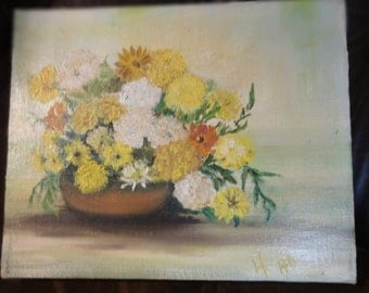 "Vintage 1978 Oil Painting Titled"" Flowers For You/ By Eileen Head"