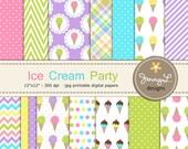 Ice Cream Digital Papers, Ice Cream Party Theme Birthday Digital Scrapbooking Paper, Sweets, Dessert, Cone, Summer