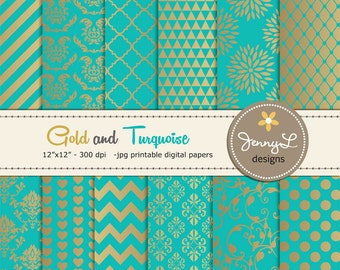 Gold and Turquoise Digital Papers, Wedding Birthday Digital Scrapbooking papers, Turquoise Damask Digital Paper, Dahlia Digital Paper