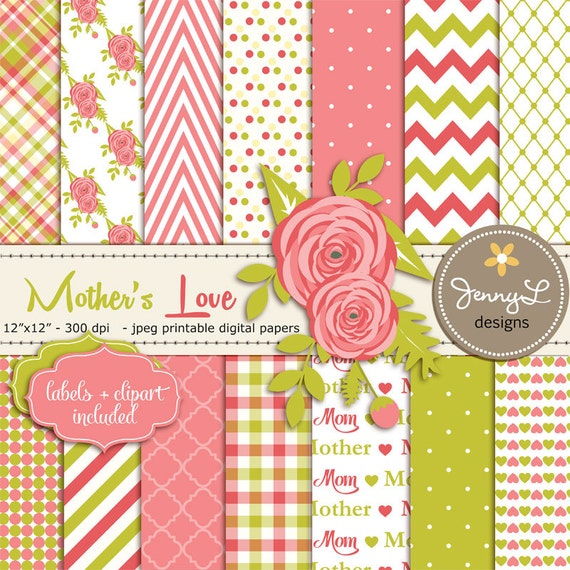 Motheru0026#39;s Day Digital Paper, Flower Clipart, Lime and Coral ...