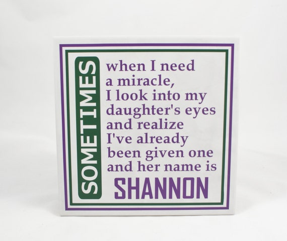 Baby Gift Name Plaque : My daughter miracle new baby gift personalized