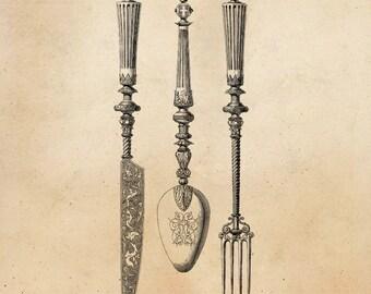 Vintage Knife Fork Spoon Illustration Printable 1800s Antique Cutlery Instant Download Digital Image Clip Art Retro Black & White Drawing ZS