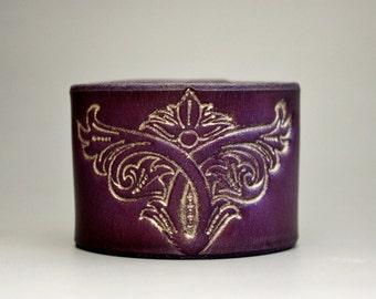 Wing Scroll Leather Wrist Cuff