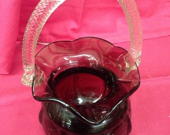 Purple Amethyst Glass Basket - Great  Gift Idea