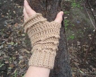 PDF.Fingerless Gloves/Mittens  Faerie Mitts, Womens Crochet Wool Blend Fingerless Mitts - Forest beige