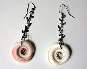 "handmade set of pierced earrings, OOAK ""Surf N Turf"" Resort, Nautical, Seashell, Beach, Shabby Chic, Cottage Chic, Nature, Rustic, Hipster"