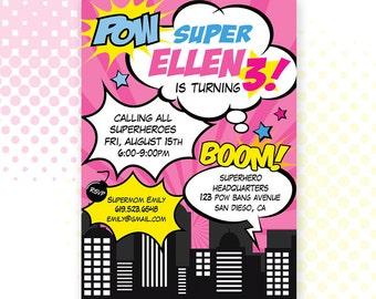 Custom PRINTABLE Superhero Girl Birthday Invitation / Invite / Pink Super Hero / Digital