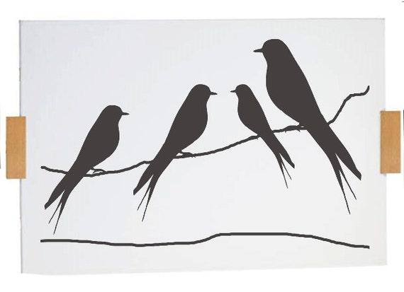 Pochoir oiseaux sur un fil de format a4 for Pochoir oiseau