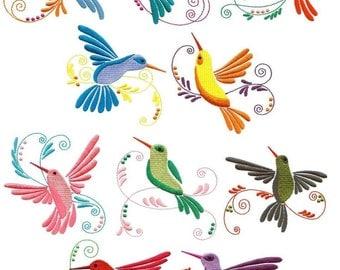 Jacobean Hummingbirds - INSTANT DOWNLOAD - Machine Embroidery - 4x4 hoop