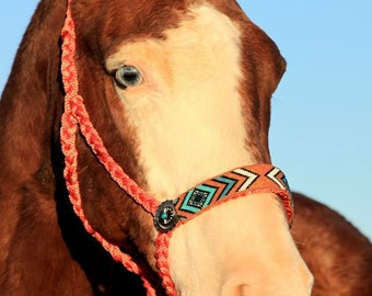 Made to order Mule tape halter with custom hand beaded noseband and optional rhinestone conchos.