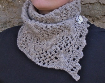 Gray lacy merino scarf, Grey knitted scarflette, Unique gift for girlfriend, Love you lots, made to order