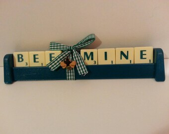 Bee mine word tile ornament. Handmade. Bee decoration. Green - great gift for valentines. Give a loved one something different