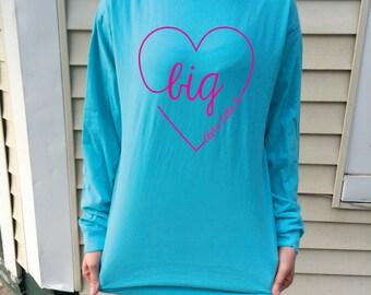 Big Script Heart Comfort Colors Long Sleeve T-Shirt