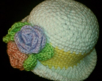 Girl Spring Bonnet Crochet Pattern PDF Digital Download