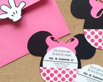 Mickey or Minnie Mouse birthday invitations! Hand crafted of heavy cardstock, includes envelopes with glove closure! Fun and memorable! (30)