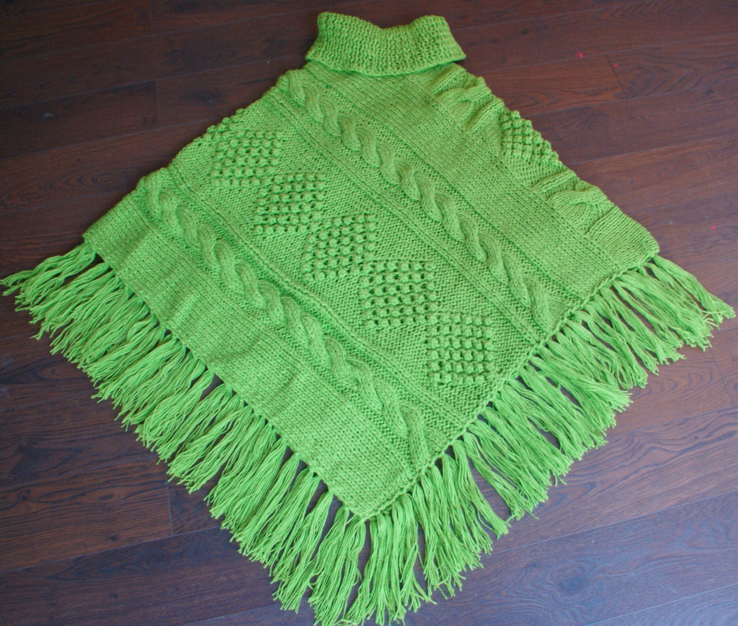 Alpaca Poncho Knitting Pattern : L XL Hand knitted Cable Poncho Alpaca Blend Apple Greenl Wrap