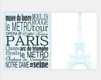 Paris Decor Paris Subway Art - Aqua Paris Print - Paris Art - Girl Nursery Art - Paris Nursery Art Print - Paris Nursery Décor - Choose size
