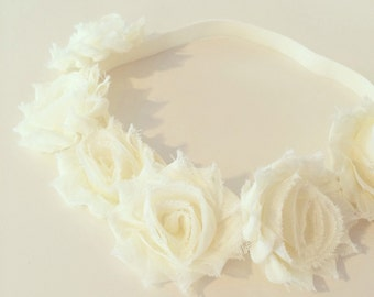 Ivory Flower Crown Headband | Ivory Flower Crown Headband for Baby Toddlers Girls Adults, Cream Ivory Flower Girl Crown, Baptism Birthday