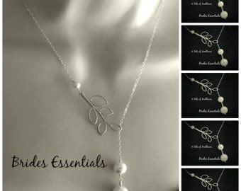 6 Lariat Necklace, Leaf Branch Necklace, Sterling Silver, Ivory White Drop Pearl, Bridal Jewelry, Bridesmaid Necklace Birthday Bridal Shower