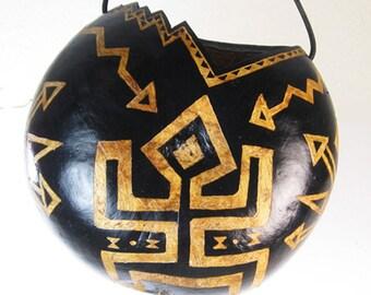 Southwest Petroglyph Hand-Carved Gourd Hanging Planter - African Decor - Tribal Tiki Decor Gourd - HouseWarming Gift Hand-Carved Gourd Vase