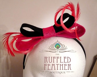 SALE!! 40% OFF Sinamay bow fascinator, hat, head piece, hair band with curled goose biots