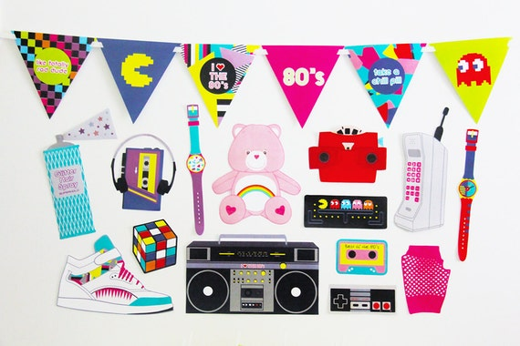 80s party decorations and 80s photo booth props by for 80s decoration ideas