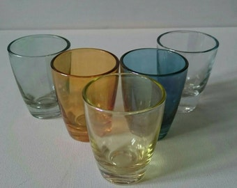 Five Slightly Iridescent Vintage Shot Glasses