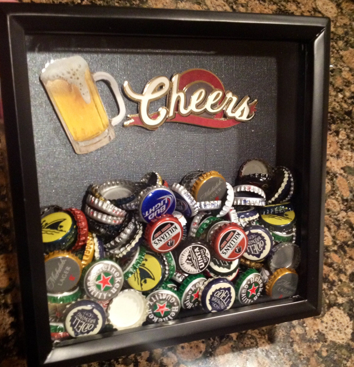 8x8 Beer Bottle Cap Holder Shadow Box For The Beer Lover In