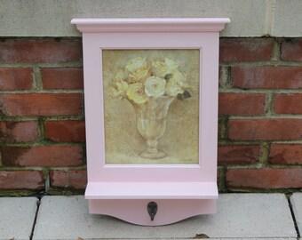 Pink floral entryway shelf with hook - Framed artwork, wood shelf, pink decor, flower decor, key hanger