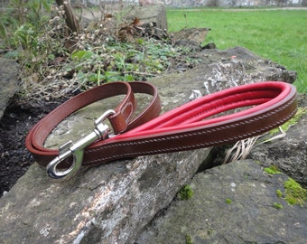 "Handmade English Leather Dog Lead with Padded Handle, 1/2"", 5/8"", 3/4"" and 1"" Widths"