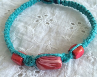 Blue Hemp Anklet with Pink Beads