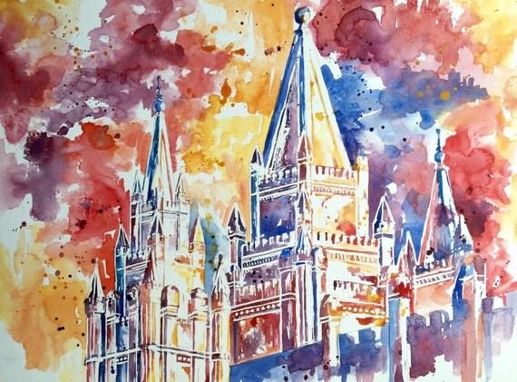 Salt Lake Temple Warm- Watercolor Print