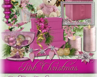 Digital Scrapbooking Christmas Kit In Pinks