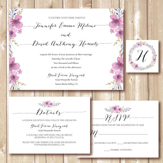 floral wedding invitation wedding rsvp card wedding set marriage