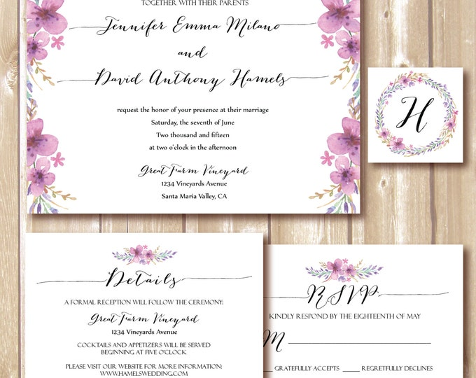 Floral Wedding Invitation, Wedding RSVP card, Wedding set, Marriage DIY Personalized, Vintage,floral. Printable wedding invitation