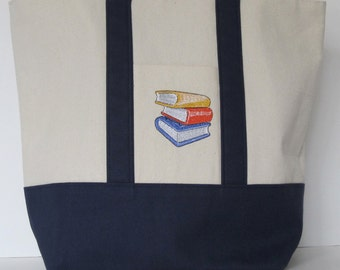 Books Blue Canvas Tote Bag Embroidered Handmade