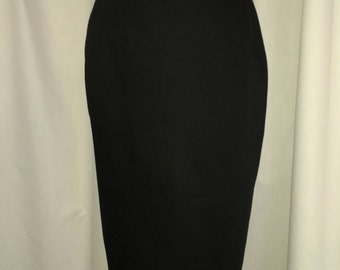 ladies black cotton pencil wiggle fitted skirt, high waisted