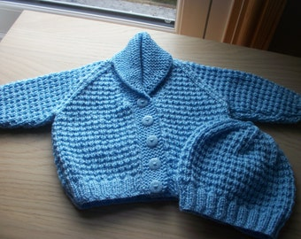 Hand knit baby cardigan and matching hat. To fit birth-3 months. Spotted buttons