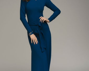 Jersey Maxi Dress Cowl Neck ,Fitted Long Dress casual.
