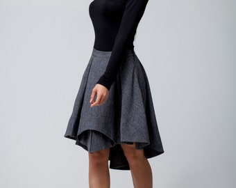Dark Grey skirt pleated ,Winter  knee length assymetrical skirt women's.