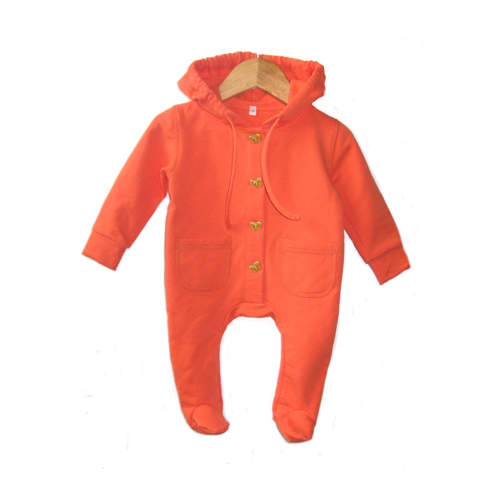 baby overall jumpsuit orange kids fleece pyjama baby hooded. Black Bedroom Furniture Sets. Home Design Ideas