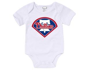 Custom Philadelphia Phillies Onesies / T shirts with custom name and number,