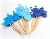 24 Mixed Blue Baby Whale Cupcake Toppers, Food Picks-Set of 24 pcs