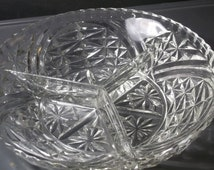 Vintage Cut Glass Divided Dish, Collectible