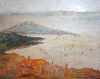 Antique European art oil painting landscape
